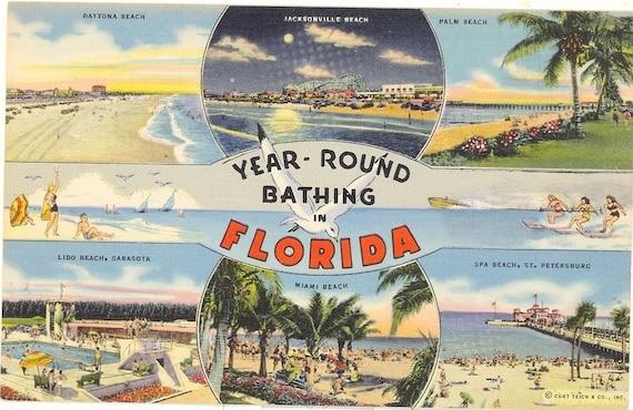 Vintage florida postcard daytona palm beach lido beach for Premier bathrooms daytona beach fl