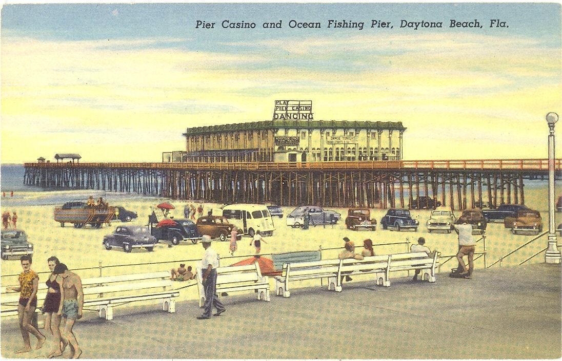 Vintage Florida Postcard Daytona Beach Pier Casino And