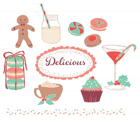Delicious Cake Clipart : Delicious Holidays Desserts and Drinks Clipart for personal