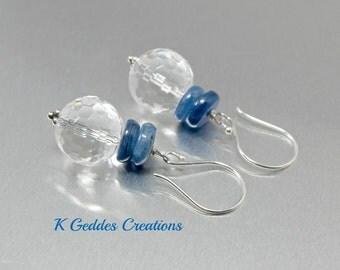 Crystal Quartz Kyanite Earrings Sterling Silver Denim Blue Gemstone Kyanite Drop Dangle Earrings