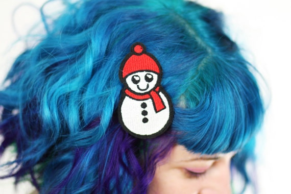 Snowman Hair Clip, Snow Barrette, Kawaii Hair Clip, Red and White