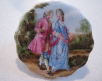 Vintage brooch, English Coalport bone china, courting couple, lovely