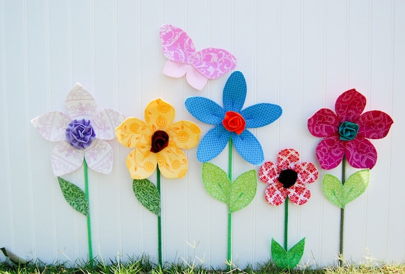 fabric flower. wall flower. 3d wall decor. red damask. SALE