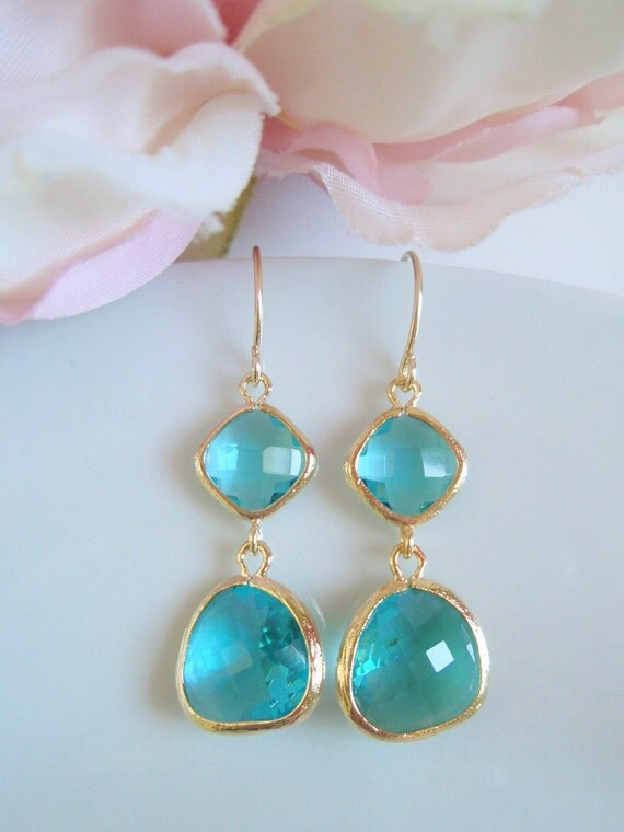 Gold Framed - Double Drop - Sea Green - Czech Glass Earrings