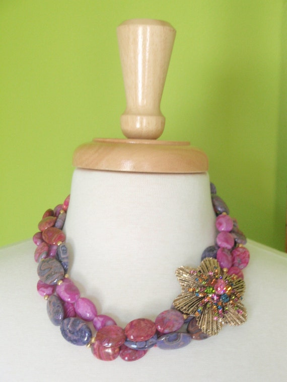 DEBORAH - Triple Strand Fuchsia and Violet Gemstone Necklace with Vintage Brooch