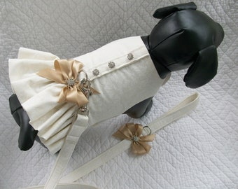 Wedding Dog Dress and Leash Set