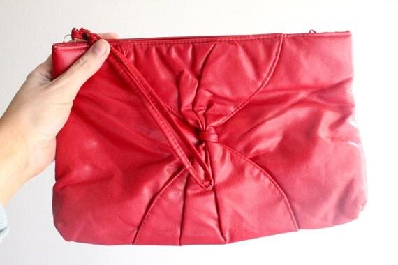 Vintage 80's Cherry Red Wristlet Clutch Purse
