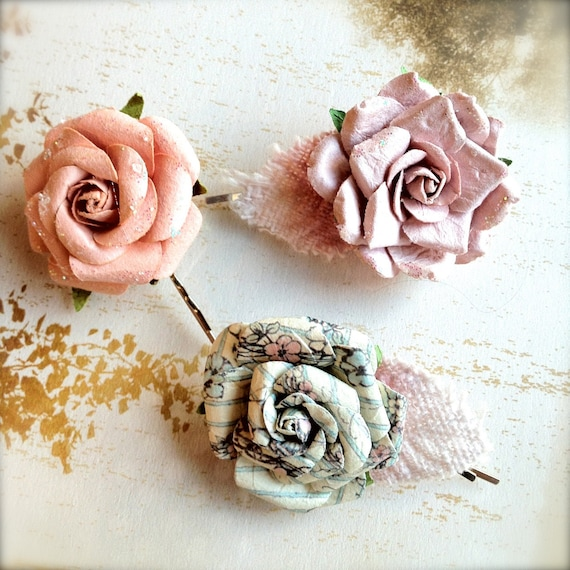 Sale--French Mararon pastel flower bobby pins-- Casual or a touch of elegance to any hairstyle. Ready to ship.