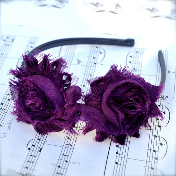 Plum shabby blossom on charcoal grey headband--  for girls or women. Ready to ship.