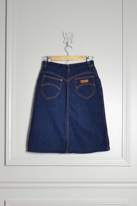 Skirt High Waist Denim Gitano 80s Country Western Cowgirl Dark Blue Jean Vintage Extra Small XS Small S