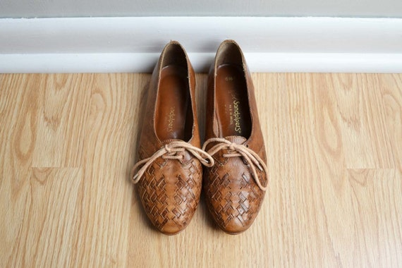 Shoes Oxfords Woven Leather Brown Whiskey Granny Lace Up Vintage Size 6.5