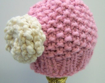 Chunky Knit Pink Toddler Hat With Flower, Knit Little Girl Hat with Flower,  Little Girl Beanie in Pink With Flower in Cream, Pink Knit Hat