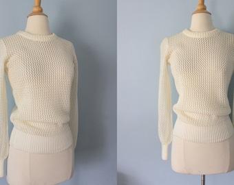 1970s sweater / 70s mesh sweater / Albee Sweater