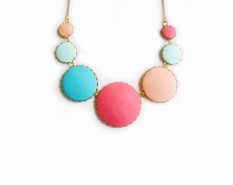 Pastel Statement Necklace, Colorful Bib Necklace, Polymer Clay Necklace, Bubble Necklace