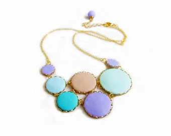 Pastel Statement Necklace,  Polymer Clay Necklace, Mint Purple Blue Necklace