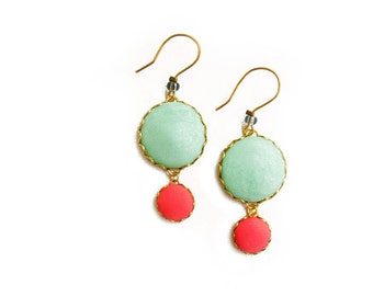 Mint Coral Dangle Earrings, Polymer Clay Statement Earrings, Bubble Earrings, Summer Boho Earrings