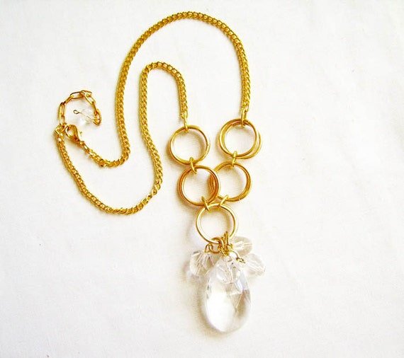 Bling Fling  Necklace - Gold and Ice Statement Handmade Necklace