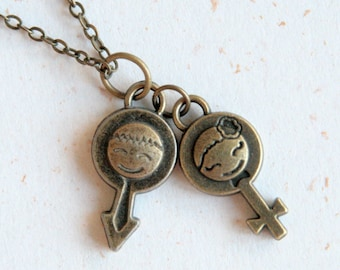 Boy and Girl Necklace (N313) in male and female symbol