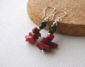 Red Earrings, Red Bamboo Coral Earrings, Gemstone Earrings, Red and Brown earrings, Southwest, American West