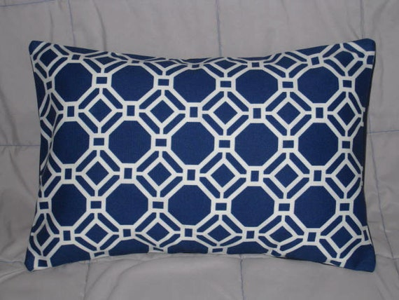Pillow Cover. Blue. White. Geometric. 12 x 18. Accent Pillow Covers. Decorative Pillow Covers