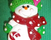 Polymer Clay Snowman with Heart and Candy Cane