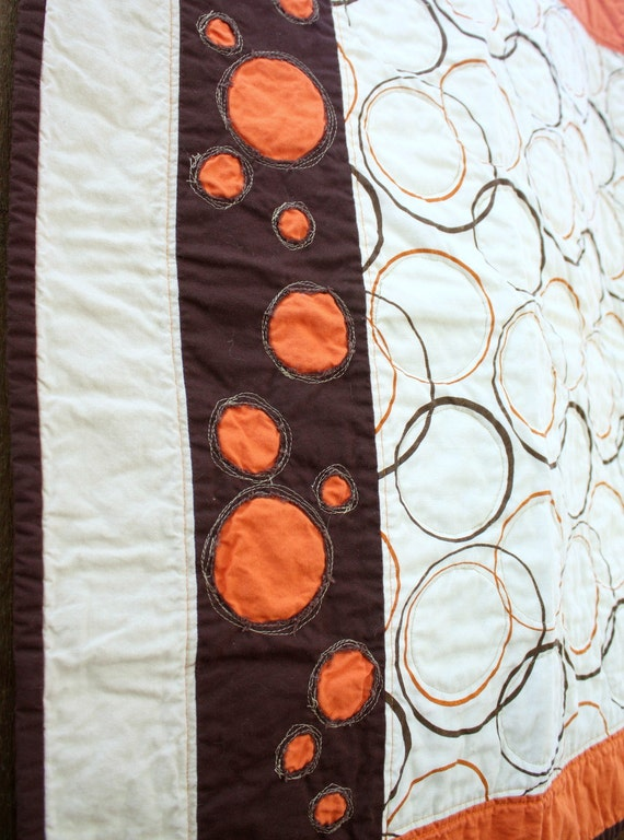Stroller Quilt, Travel Blanket, Play Mat, Crib Quilt in Orange, Cream and Brown Circles by Nstarstudio