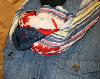 Silk Cotton Rayon Boho Abstract Infinity Scarf mixes Stripe, Floral and Lace in navy denim blue yellow barn red  and white - Fashion Scarf