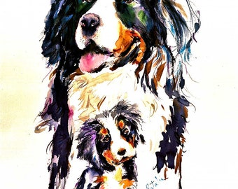Bernese Mountain dog and pup  Watercolor dog print SIGNED by the Artist Carol Ratafia DOUBLE MATTED to 16x20