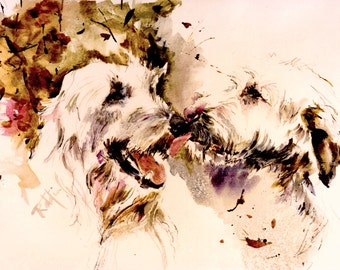 Irish Wolfhound -Tall dog- Watercolor dog print  SIGNED by the Artist Carol Ratafia DOUBLE MATTED to  10x12