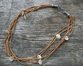 Native American Clay Seed Bead Necklace with Mother Of Pearl Discs