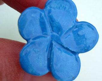 Sky blue ceramic flower magnets-set of 3