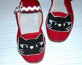 Womens  Black Cat bright red Maryjane Shoes