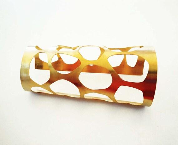 gold statement cuff bracelet- 24Kt gold plated bronze cuff - statement organic bracelet - statement jewelry