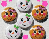 "Happy Girly Holiday Faces ""Christmas""  1 inch Plastic Back Medallion Cabochon Cameo Charms 25mm Lot -  B"