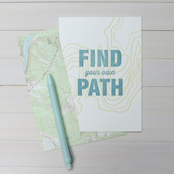 find your own path letterpress card