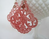Raspberry filigree lace earrings with smokey quartz briolette