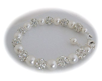 Bridal Bracelet Pearl Bracelet Wedding Jewelry Swarovski Crystal and Pearl Bridal Jewelry