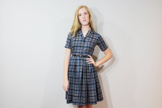 60s Day Dress School Girl Plaid Bobbie Brooks Short Sleeve Pleated Skirt Blue XS Xsmall Vintage