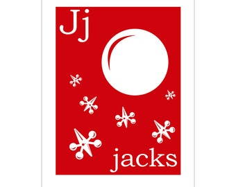 Children's Wall Art / Nursery Decor J is for Jacks 8x10 inch print by Finny and Zook