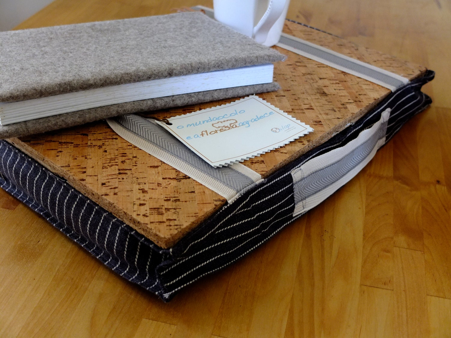 Eco friendly Lap desk laptop pillow with cork tray by