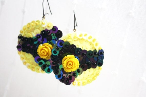 Yellow Rose Earrings black Sequin embroidered felt