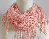 Cotton-Guipure  Mixed Fabric Fringed  Scarf ..authentic, romantic, elegant, fashion