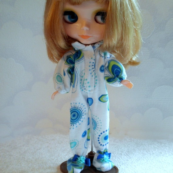 FOOTED PAJAMAS Blue Butterflies PJ's for Blythe Moxie Bratz