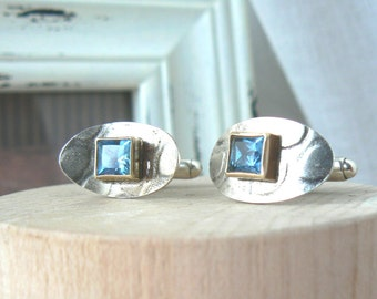 Sterling silver, 14k Yellow Gold and Blue Topaz Cuff Links - READY TO SHIP