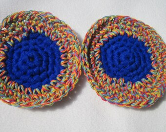 Kitchen Scrubbies, Cotton and Nylon Tulle in Blue and Primary Set of Two Scrubbers, Hostess Gift Under Ten Dollars, Crocheted by Charlene