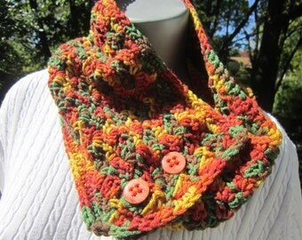 Button Cowl, Winter Neckwarmer, Fall Colors Warm Scarf, Winter Wear for Women, Gift for Mom, Fashion Accessory ~Wide Rust and Green Cowl