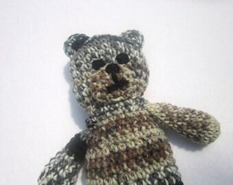 Teddy Bear Crocheted with Tans, Gray and Black, Stuffed Bear, Baby Gift, Earthtones Bear
