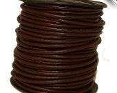 3 mm Leather Cord Brown  Spool of 25 Meters