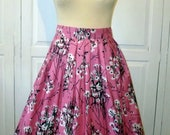 Bright pink 50's floral print, 50's style, full, knee length skirt size 10