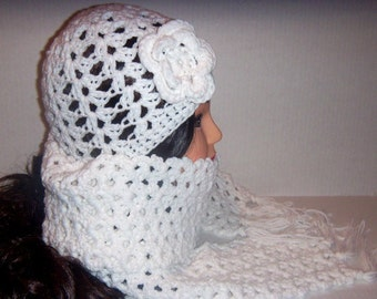 Crochet Hat and Scarf, White Beanie Hat, Crochet Scarf and Beanie Hat Set, Gifts For Her